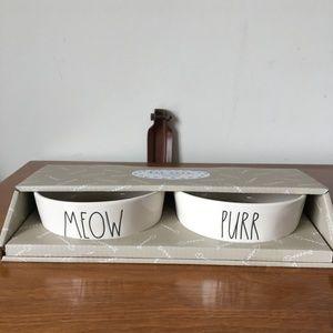 Rae Dunn Set of 2 Cat 🐈 Bowls ~ MEOW + PURR✨